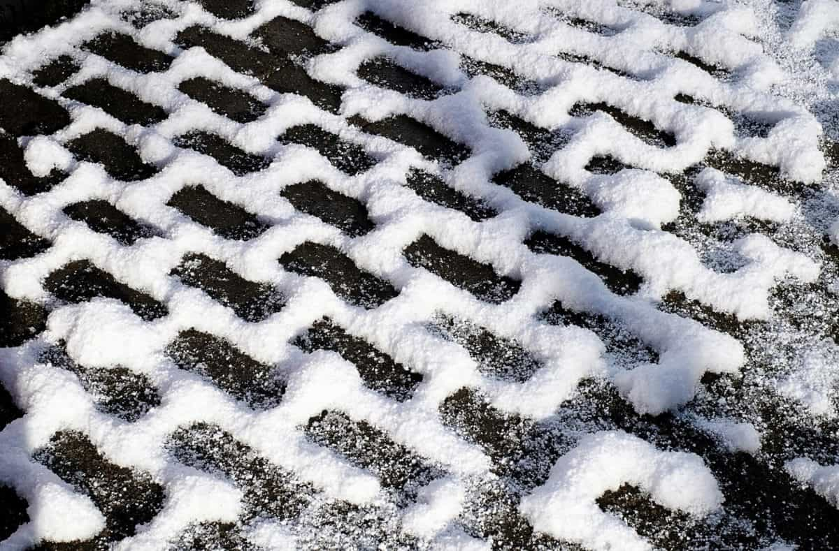 pattern, pavement, snow, road, brick, winter, cold
