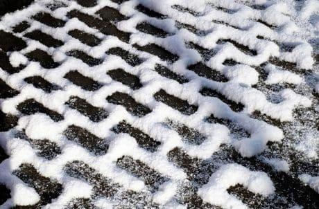 modello, marciapiede, mattoni, neve, strada, inverno, freddo