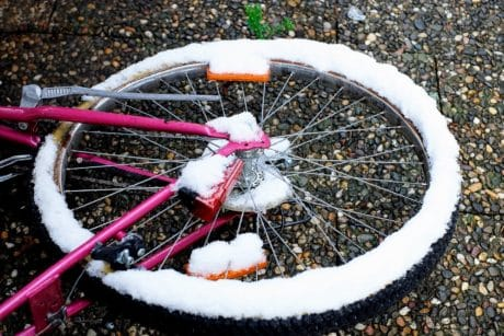 wheel, stone, bicycle, winter, object, snow, tire