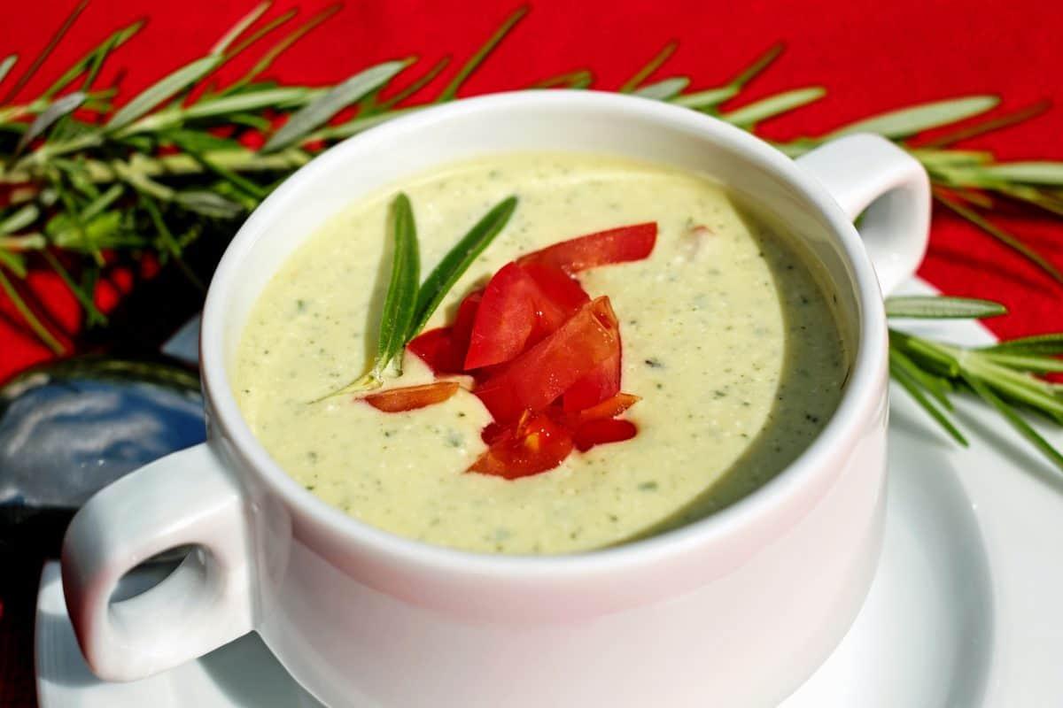 zelenina, obědy smetana, polévku, jídlo, lahodné, mísa