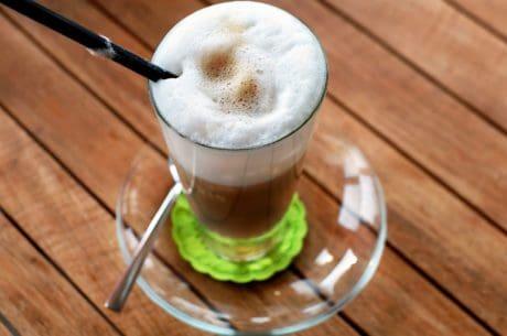 café, mousse, table, boisson, cappuccino, bois, café, cacao
