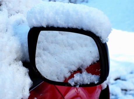 copo de nieve, nieve, hielo, frío, espejo, coche, heladas, invierno, congelado