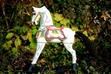 horse, toy, figure, leaf, nature, grass