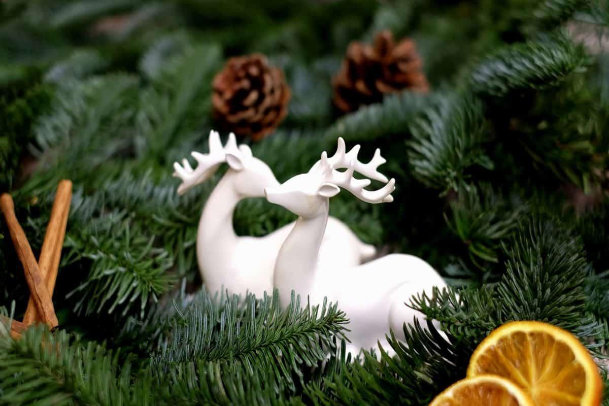 giocattolo, porcellana, pino, abete, mandarino, cervi, figura, decorazione