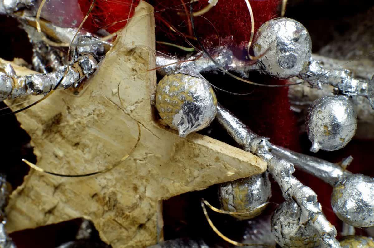 装饰, 银色, 木头, 星, 假日, 圣诞节