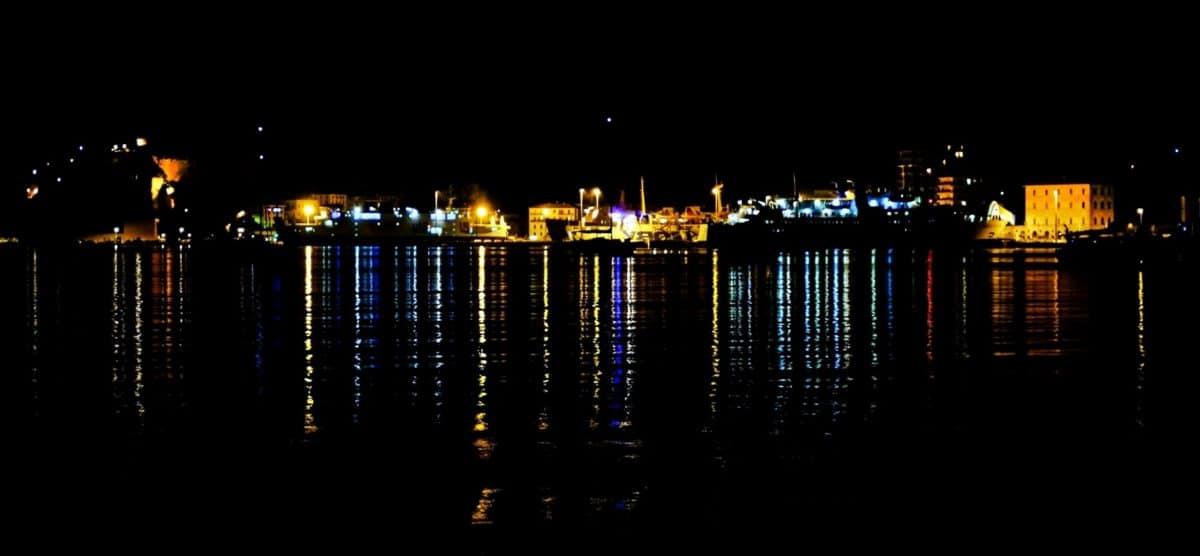 вода, град, река, градски пейзаж, нощ, отражение