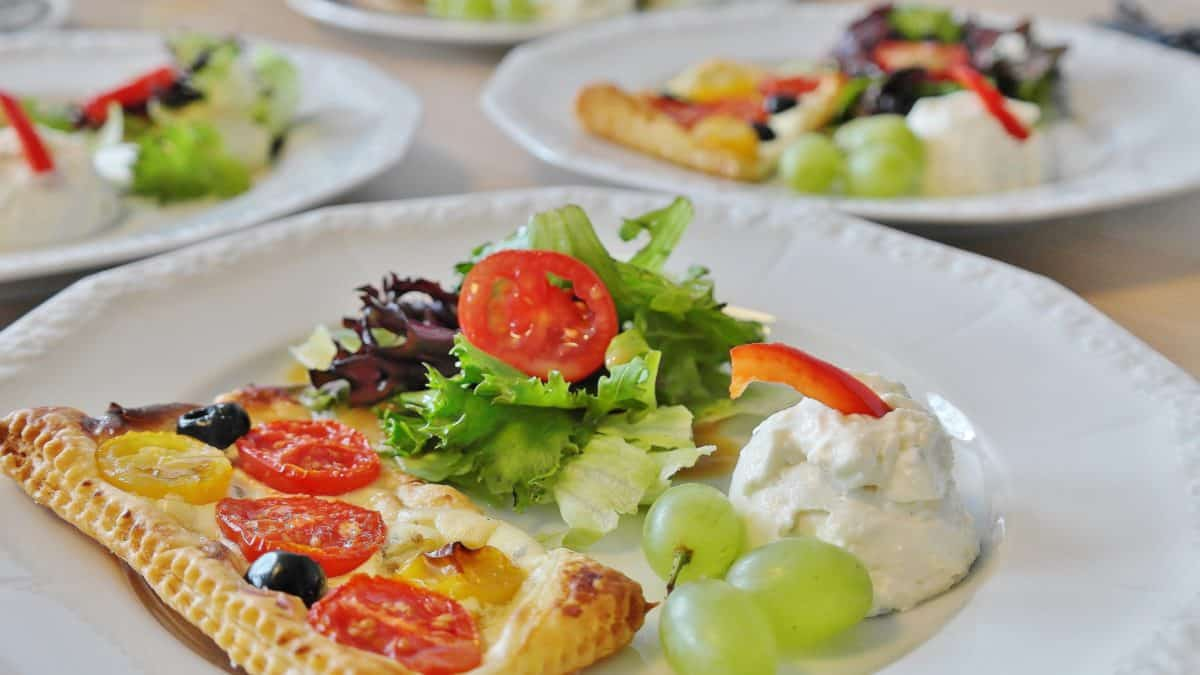 dinner, salad, cheese, food, meal, vegetable, tomato, lunch