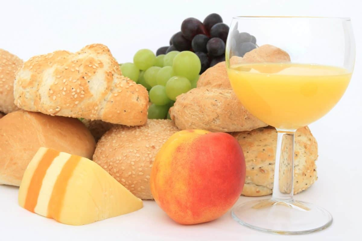 hrana, ukusna, voćni koktel, voće, kruh, sir