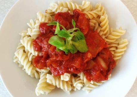 lunch, meal, tomato, sauce, basil, food, spaghetti, dinner