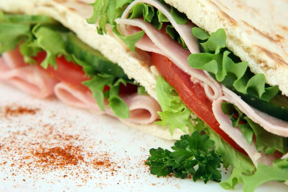 ukusna, doručak, sendvič, zelena salata, hrana, pršut, ručak