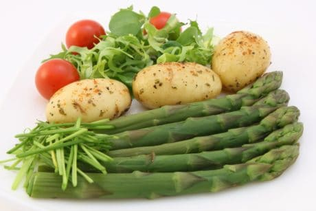food, asparagus, nutrition, vegetable, salad, tomato, lettuce