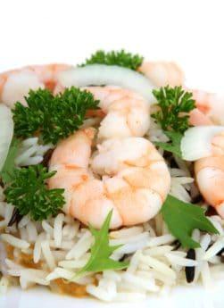 pesce, cena, pesce, riso, gamberi, deliziosi, pranzo, cibo