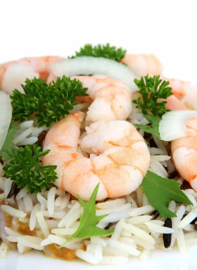 dîner, fruits de mer, riz, poisson, crevettes, délicieux, déjeuner, nourriture