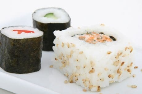seafood, diet, meal, food, fish, sushi, rice, dish, indoor