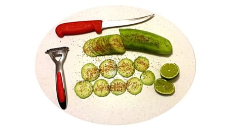 food, vegetable, knife, pepper, meal, indoor, lunch