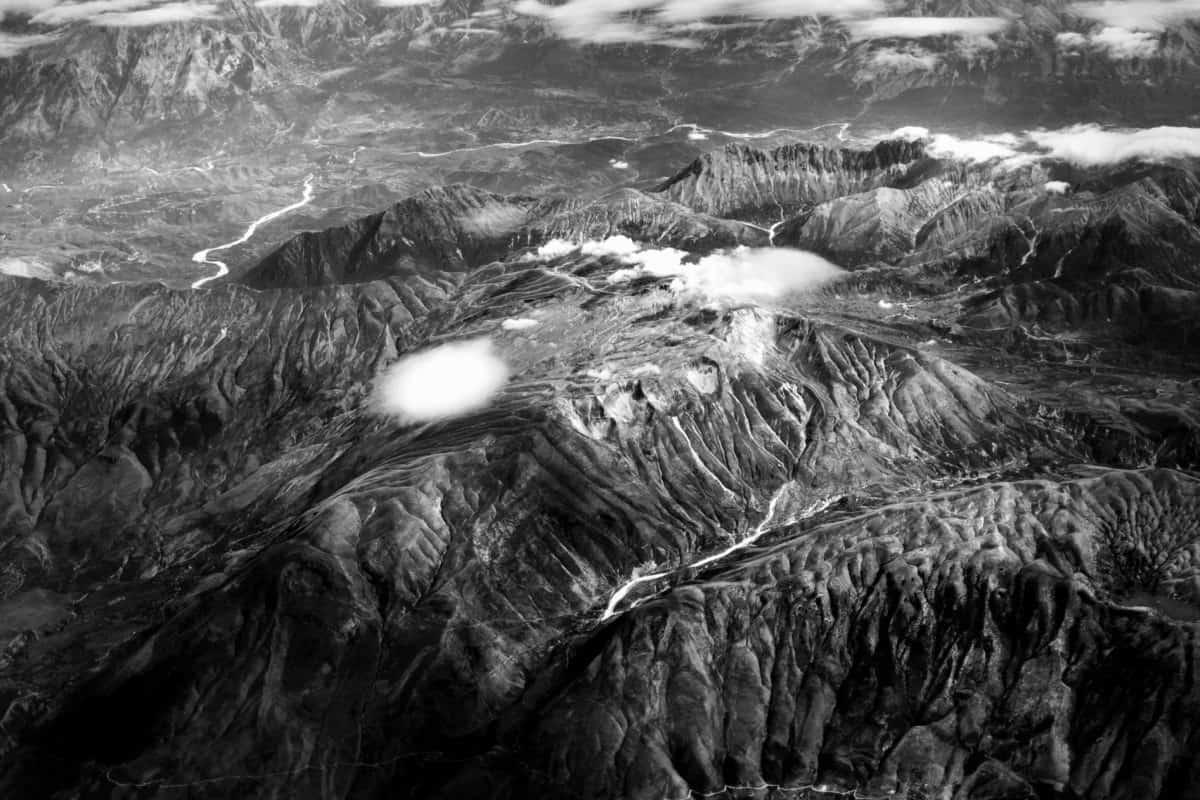 mountain, monochrome, cloud, landscape, valley