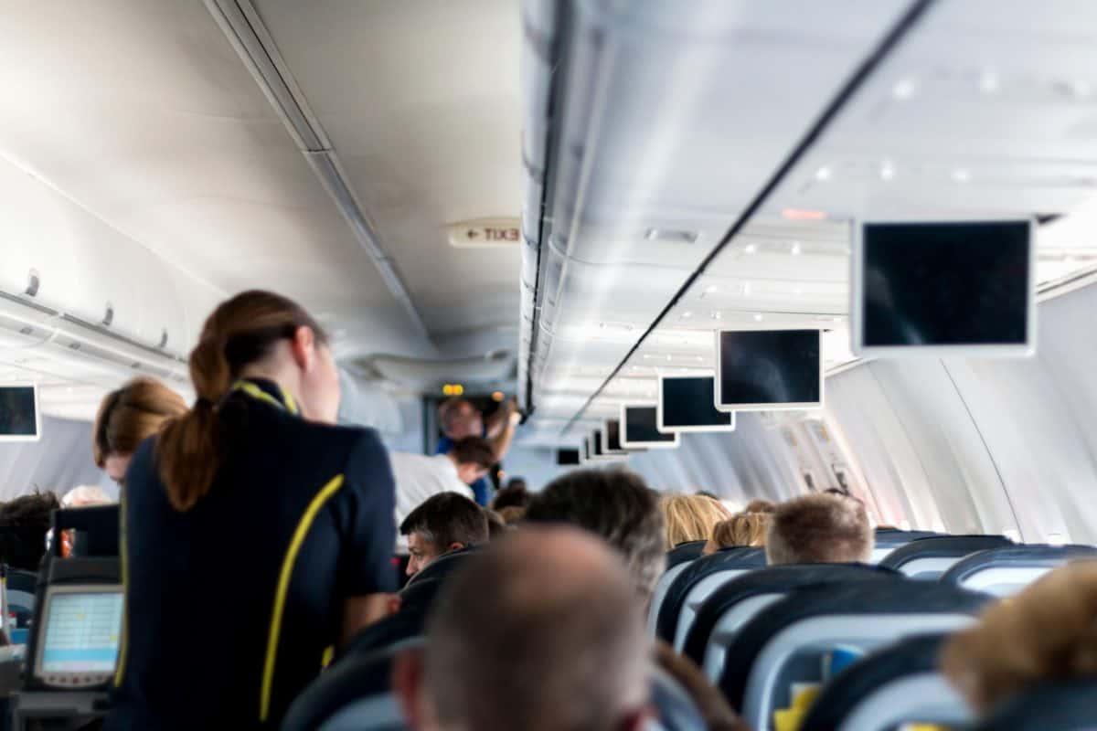 indoors, airport, airplane, vehicle, passenger, seat, interior