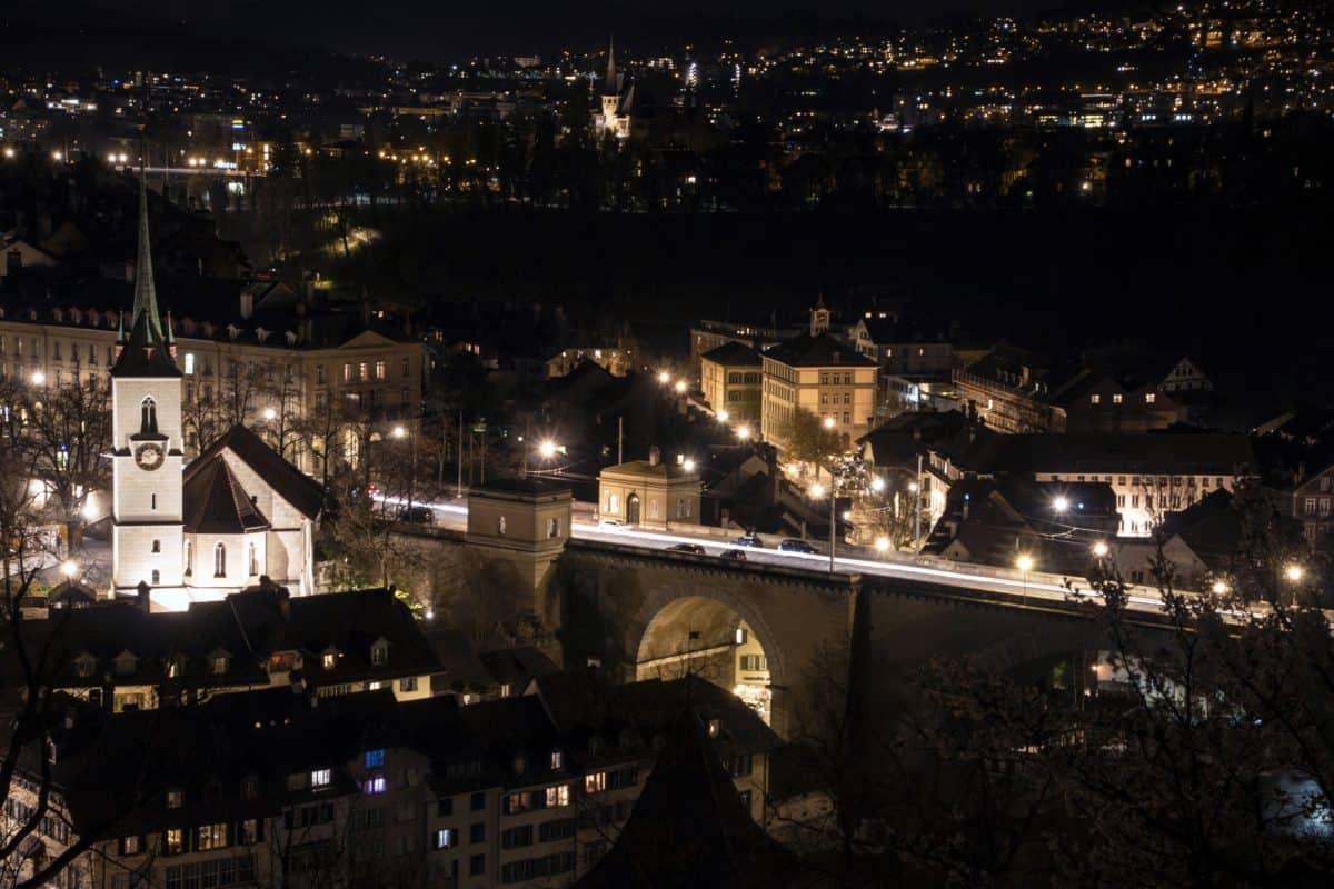 street, city, bridge, architecture, night, cityscape, structure