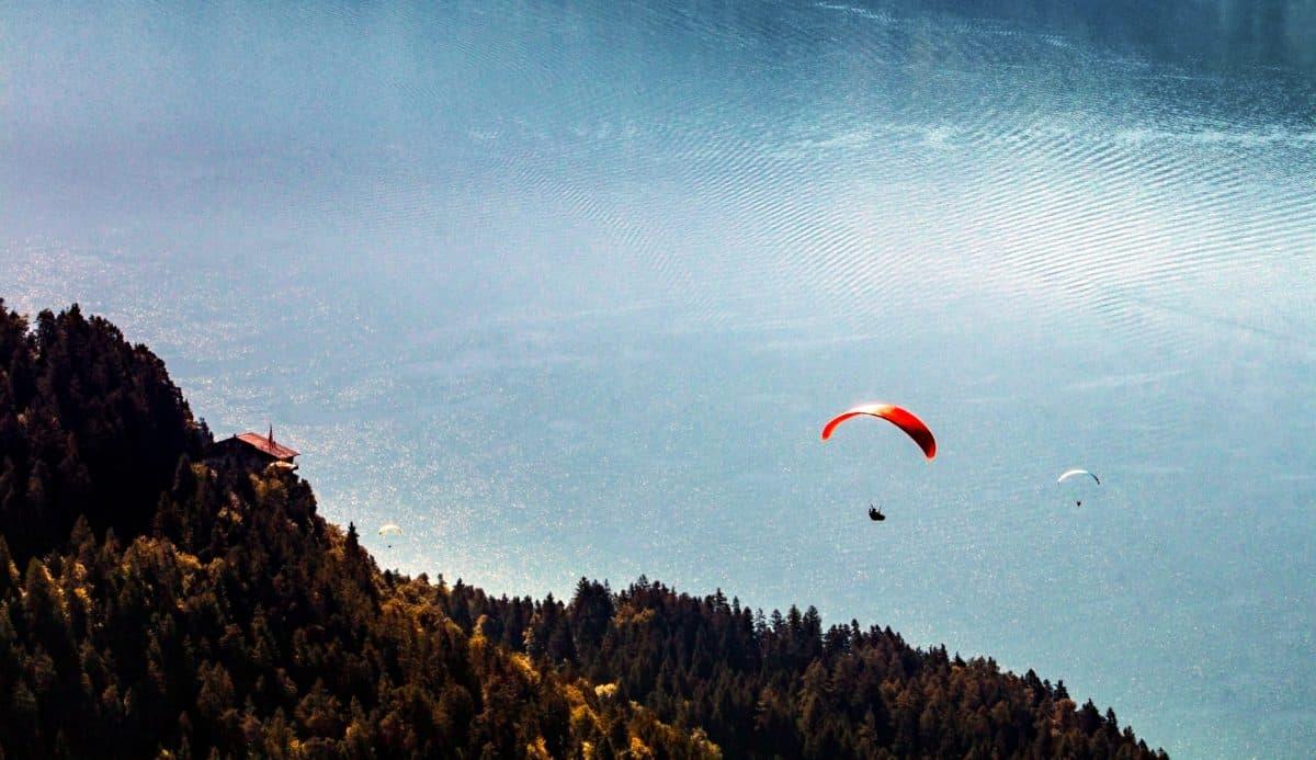 parachute, lake, mountain, extreme sport, reflection