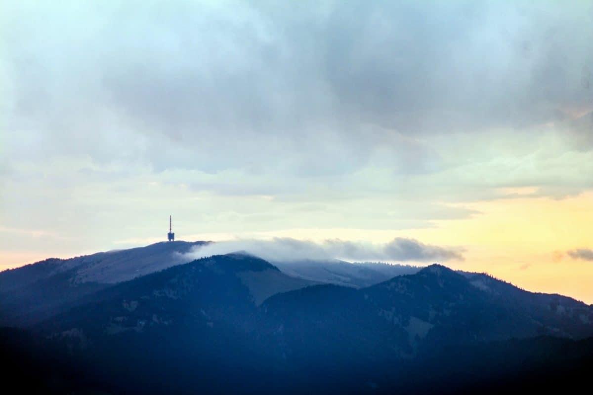 sky, landscape, snow, mountain, fog, outdoor