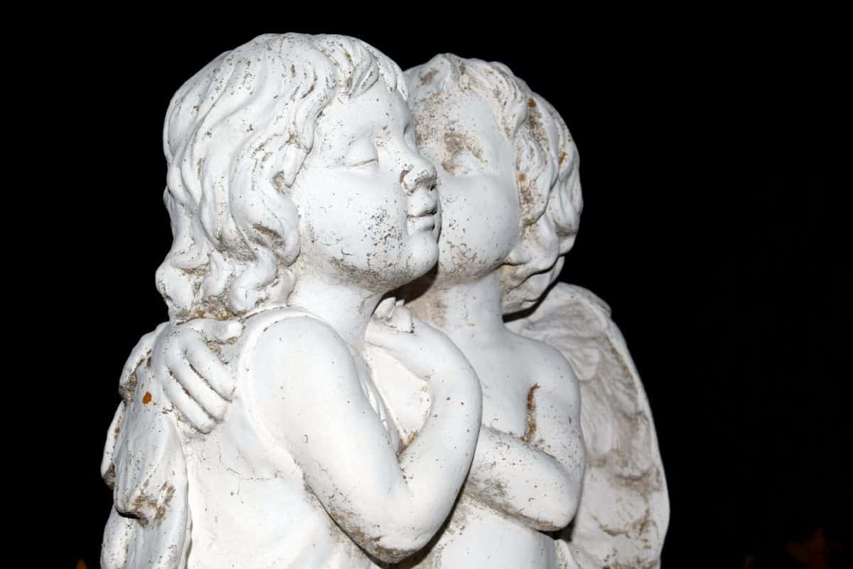 statue, ancient, marble, sculpture, white angel, art, detail