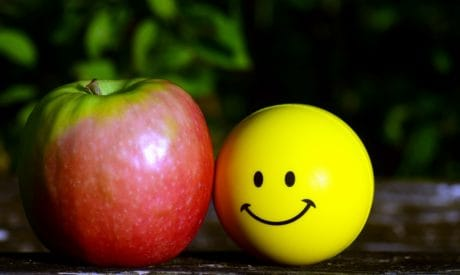 apple, food, fruit, vitamin, delicious, ball, graphics, smiling