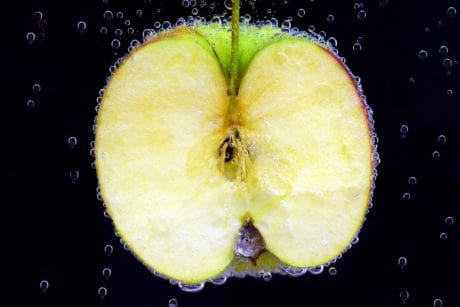 food, fruit, wet, apple, bubble, water