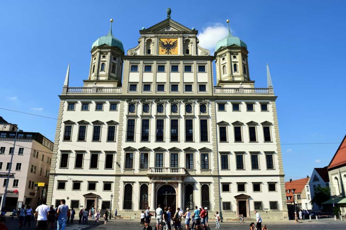 arquitectura, ciudad, cielo azul, fachada, Palacio, centro, exterior