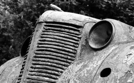 rez, starý, černobílý tisk, smetiště, mechanismus, venkovní, strom, retro, auto