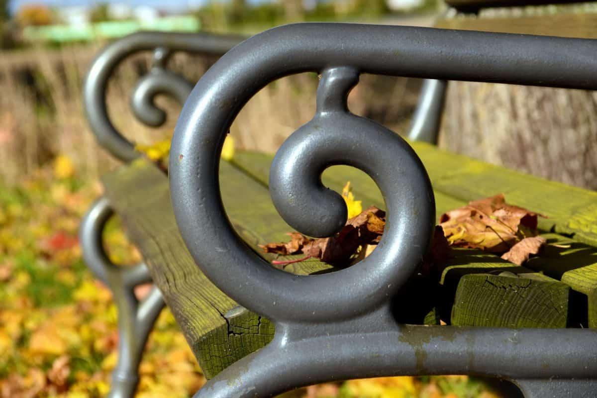 acciaio, ferro, oggetto, metallo, panca, parco, natura