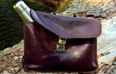 mode läder, väska, handväska, kurirpost, marken, Utomhus