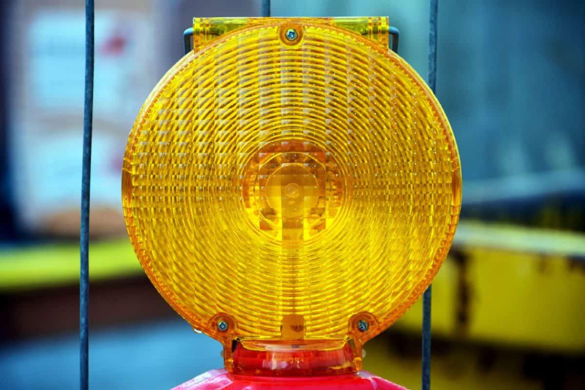 lampe, signal, plastique, attention, lumière, objet, jaune