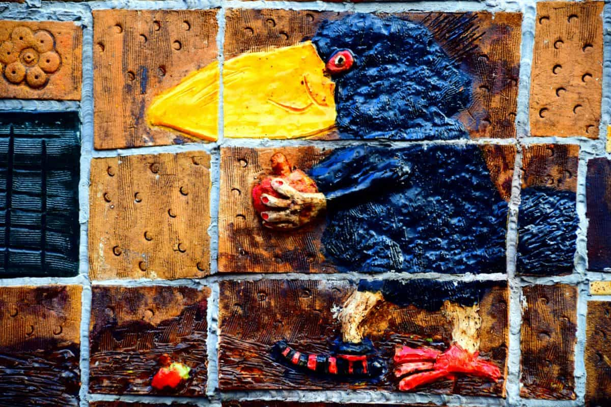 wall, colorful, art, bird, decoration, mosaic