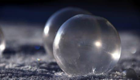 hiver, froid, flocon de neige, sphère, balle, glace
