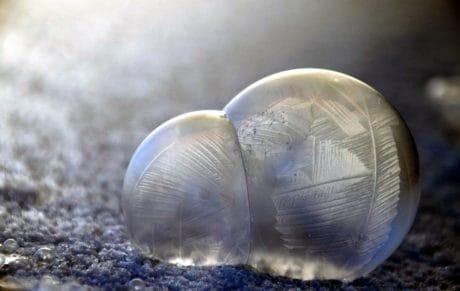 invierno, frío, hielo, macro, snowflake, sphere, congelado