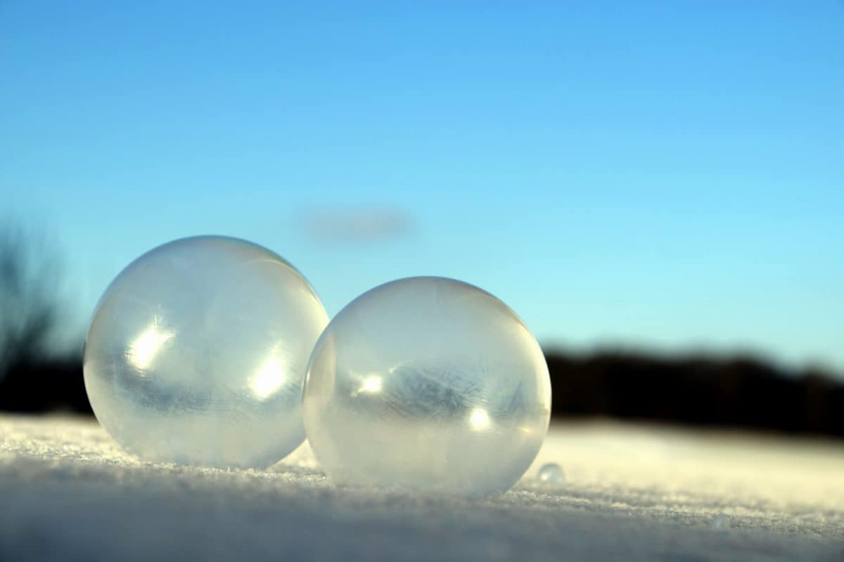 winter, cold, snow, sphere, ice, snowflake, blue sky