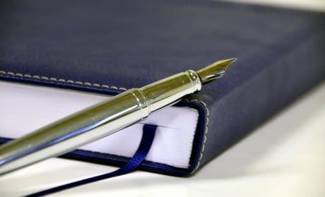 affaires, note, stylo, planificateur, papier, objet, macro