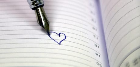 love letter, paper, love, romance, notebook, pen, heart