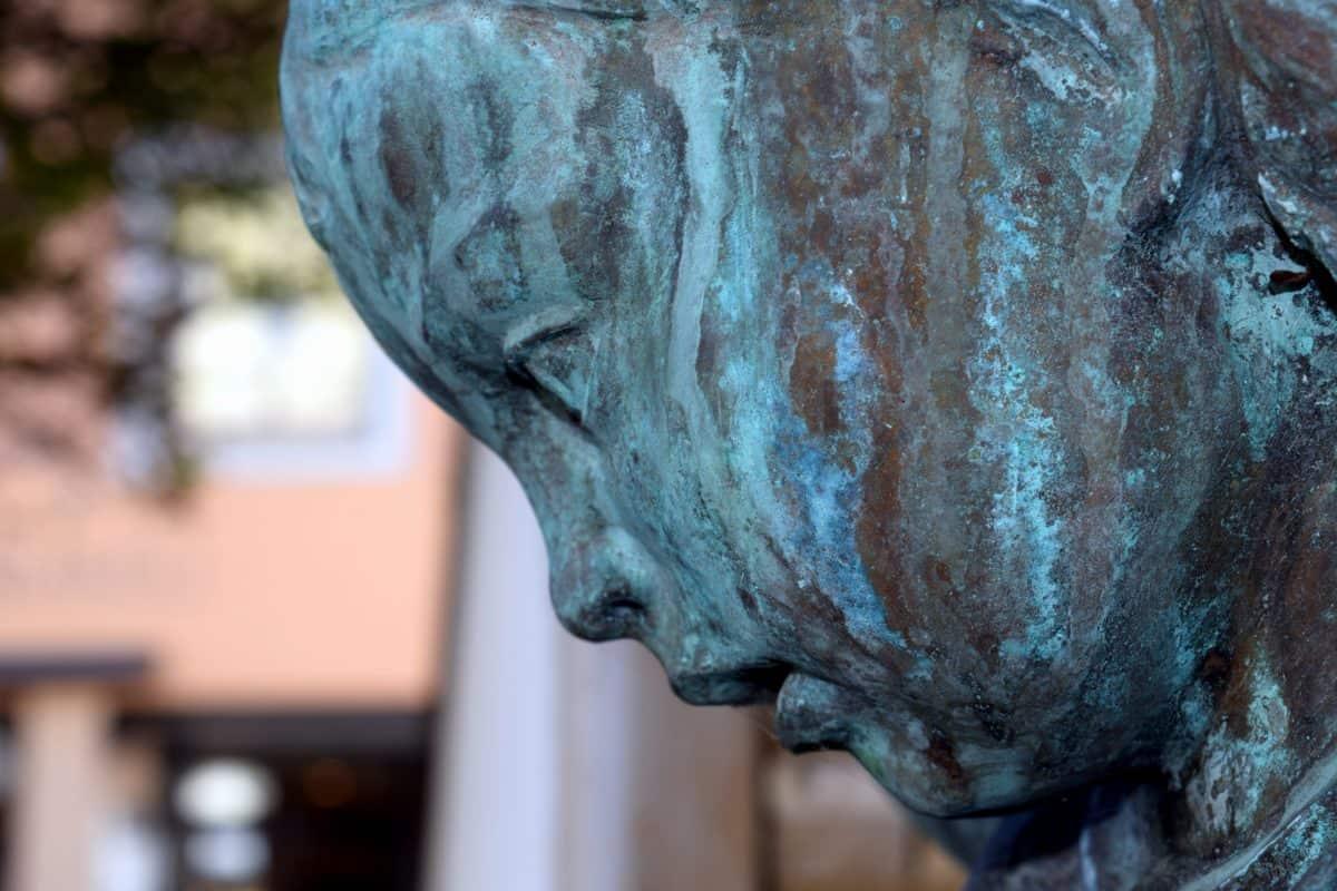 umjetnost, skulpture, glava, oči, usta, bronca