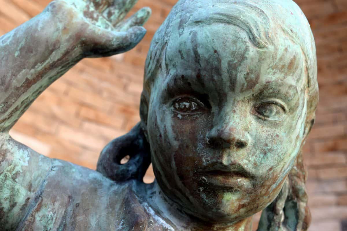 bronzo, metallo, oggetto, arte, antica, scultura, statua, urbano, all'aperto