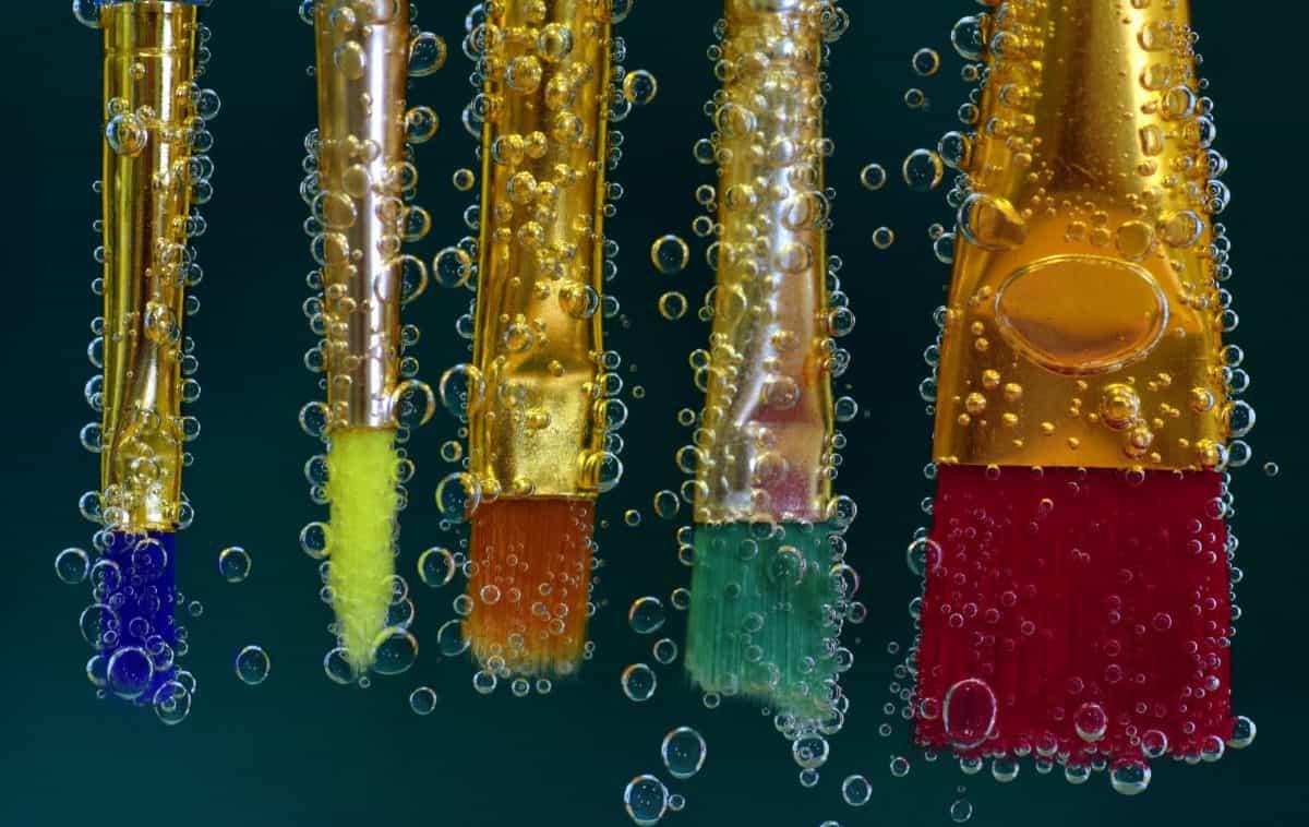 makronaredbe, boja, detalja, tekućina, pod vodom, kist, boje, šarene