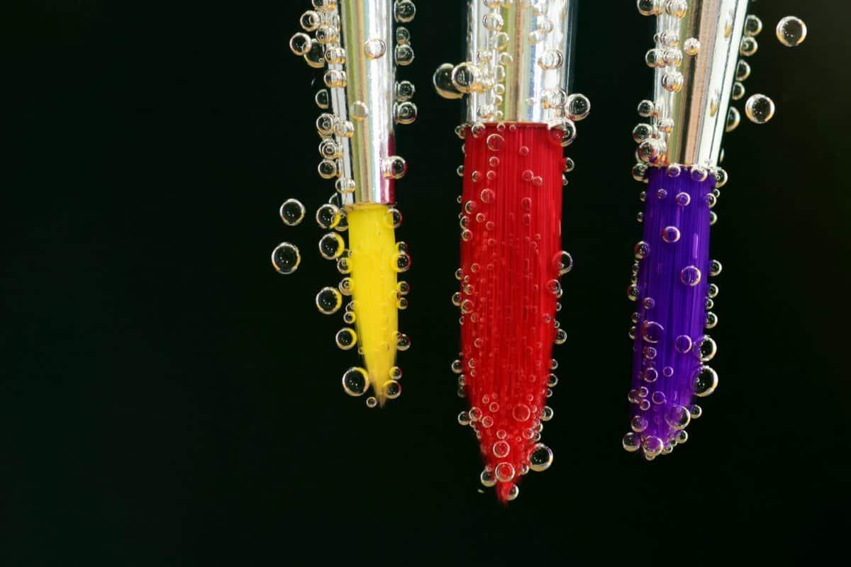 barevné, štětec, kapalina, dekorace, vodu, štětec, bublina, červená
