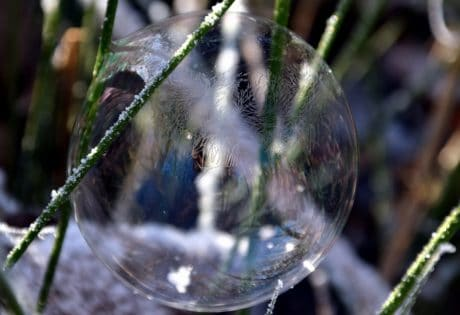 nature, winter, snow, sphere, grass, ice, reflection