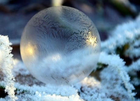 nature, winter, ice, reflection, snowflake, frost, macro, sphere