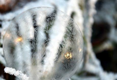 naturaleza, invierno, hielo, reflexión, copo de nieve, esfera
