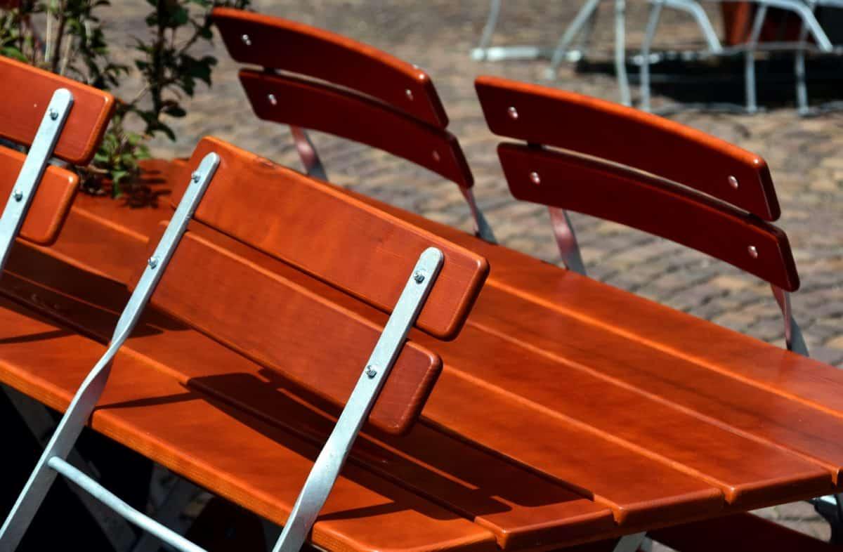 chaise, métal, bois, extérieur, mobilier, urbain
