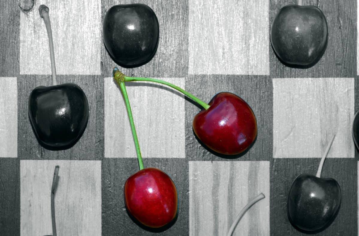 fotomontaggio, monocromatico, dolce, ciliegia, vitamina, scacchiera, decorazione, frutta