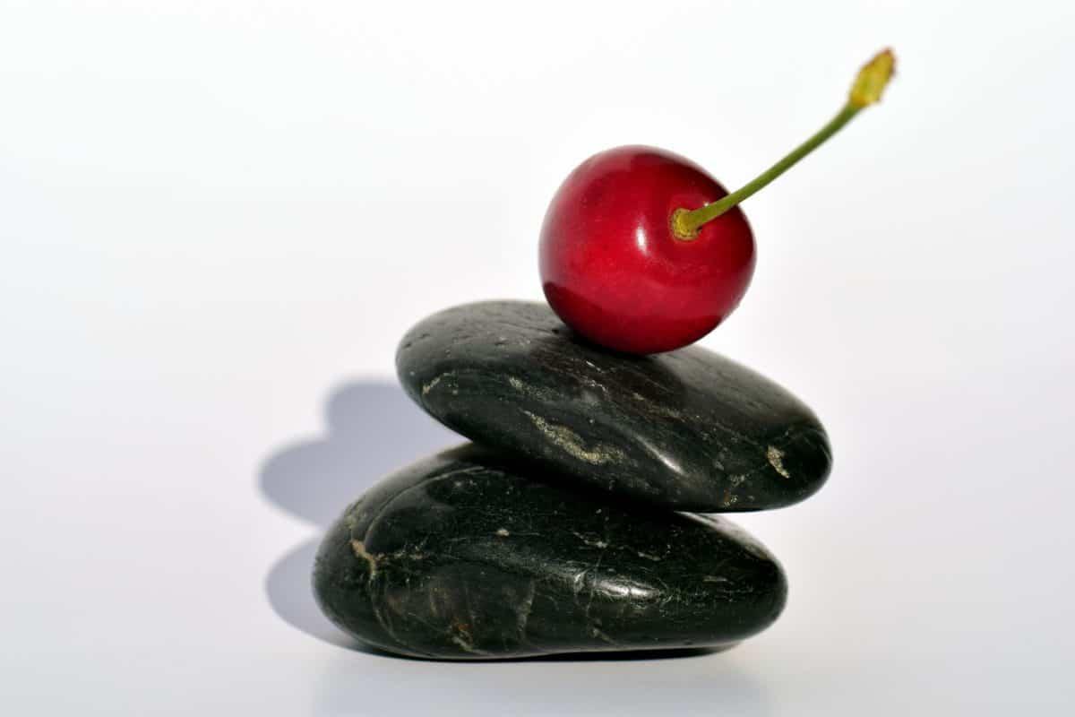 돌, 아직도 인생, 명상, 장식, 체리, 과일, 음식