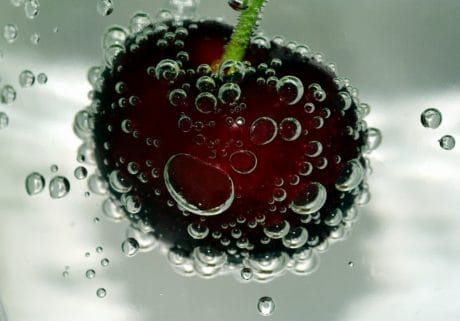 macro, wet, liquid, cherry, fruit, food, underwater