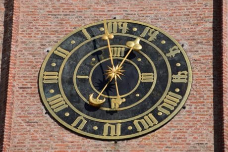 timepiece, instrument, clock, time, brick, old, antique